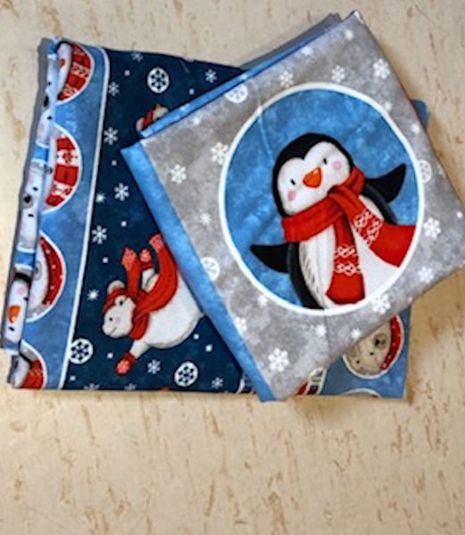 Green-Acres-Quilts-Polar-bear-penguin-baby-cot-quilt-kit-fabric